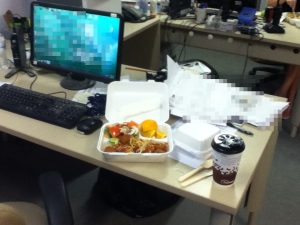 Chicken Meatballs at my desk. FML.